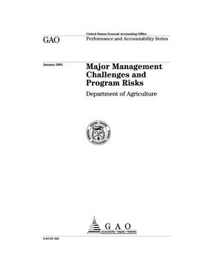 Primary view of object titled 'Major Management Challenges and Program Risks: Department of Agriculture'.