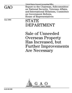 Primary view of object titled 'State Department: Sale of Unneeded Overseas Property Has Increased, but Further Improvements Are Necessary'.