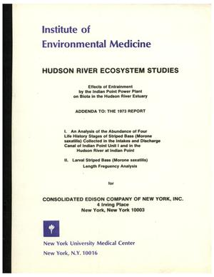 Primary view of object titled 'Effects of Entrainment by the Indian Point Power Plant on Biota in the Hudson River Estuary, August 1976'.