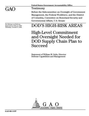Primary view of object titled 'DOD's High-Risk Areas: High-Level Commitment and Oversight Needed for DOD Supply Chain Plan to Succeed'.
