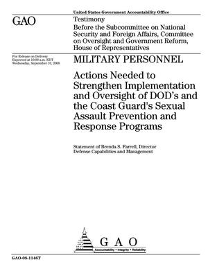 Primary view of object titled 'Military Personnel: Actions Needed to Strengthen Implementation and Oversight of DOD's and the Coast Guard's Sexual Assault Prevention and Response Programs'.