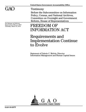 Primary view of object titled 'Freedom of Information Act: Requirements and Implementation Continue to Evolve'.