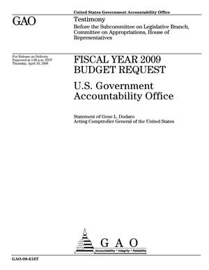 Primary view of object titled 'Fiscal Year 2009 Budget Request: U.S. Government Accountability Office'.