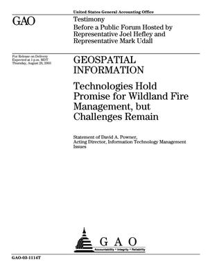 Primary view of object titled 'Geospatial Information: Technologies Hold Promise for Wildland Fire Management, but Challenges Remain'.