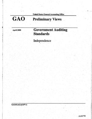 Primary view of object titled 'Government Auditing Standards: Independence (Preliminary Views)'.