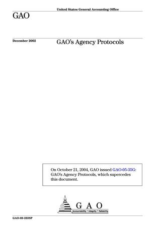 Primary view of object titled 'GAO's Agency Protocols'.