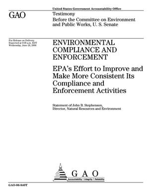 Primary view of object titled 'Environmental Compliance and Enforcement: EPA's Effort to Improve and Make More Consistent Its Compliance and Enforcement Activities'.