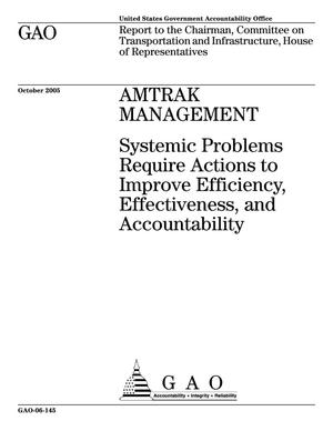 Primary view of object titled 'Amtrak Management: Systemic Problems Require Actions to Improve Efficiency, Effectiveness, and Accountability'.