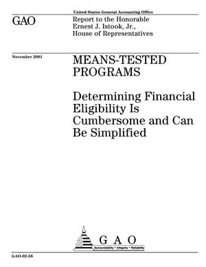 Primary view of object titled 'Means-Tested Programs: Determining Financial Eligibility Is Cumbersome and Can Be Simplified'.