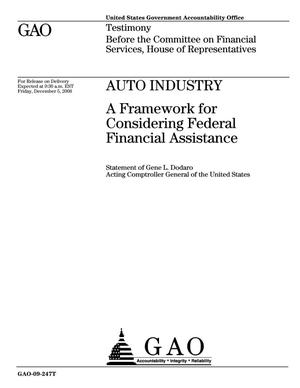 Primary view of object titled 'Auto Industry: A Framework for Considering Federal Financial Assistance'.