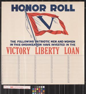 Honor roll, the following patriotic men and women in this organization have invested in the Victory Liberty Loan
