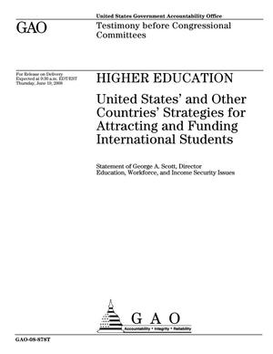 Primary view of object titled 'Higher Education: United States' and Other Countries' Strategies for Attracting and Funding International Students'.
