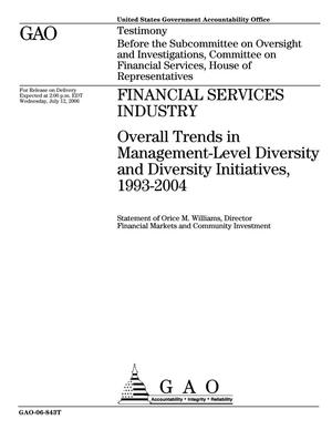 Primary view of object titled 'Financial Services Industry: Overall Trends in Management-Level Diversity and Diversity Initiatives, 1993-2004'.