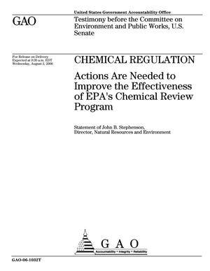 Primary view of object titled 'Chemical Regulation: Actions are Needed to Improve the Effectiveness of EPA's Chemical Review Program'.