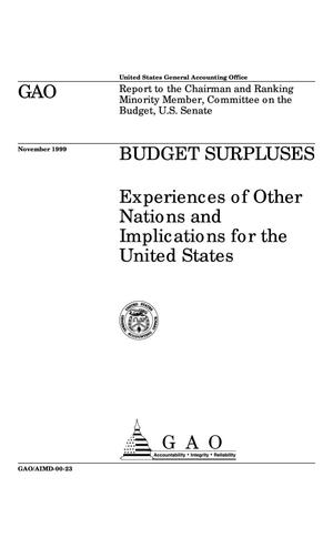 Primary view of object titled 'Budget Surpluses: Experiences of Other Nations and Implications for the United States'.