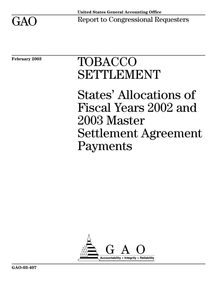Tobacco Settlement States Allocations Of Fiscal Years 2002 And