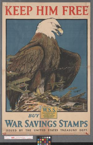 Primary view of object titled 'Keep him free, buy war savings stamps issued by the United States Treasury Dept.'.