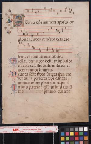 Primary view of object titled 'Manuscript leaf from an antiphonal.'.
