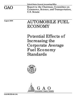 Primary view of object titled 'Automobile Fuel Economy: Potential Effects of Increasing the Corporate Average Fuel Economy Standards'.