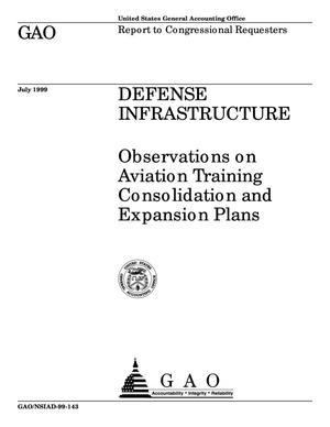 Primary view of object titled 'Defense Infrastructure: Observations on Aviation Training Consolidation and Expansion Plans'.