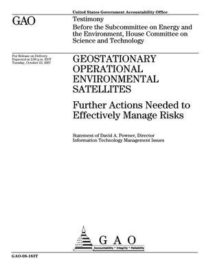 Primary view of object titled 'Geostationary Operational Environmental Satellites: Further Actions Needed to Effectively Manage Risks'.