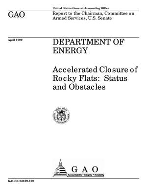Primary view of object titled 'Department of Energy: Accelerated Closure of Rocky Flats: Status and Obstacles'.