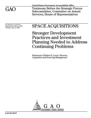Primary view of object titled 'Space Acquisitions: Stronger Development Practices and Investment Planning Needed to Address Continuing Problems'.