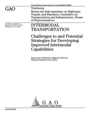Primary view of object titled 'Intermodal Transportation: Challenges to and Potential Strategies for Developing Improved Intermodal Capabilities'.