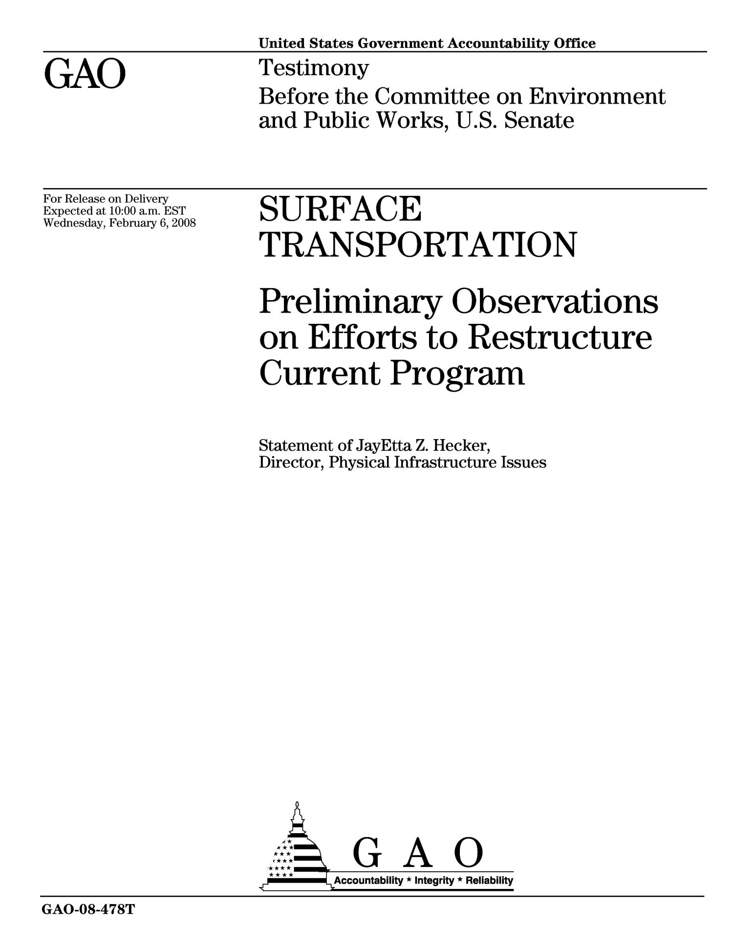 Surface Transportation: Preliminary Observations on Efforts to Restructure Current Program                                                                                                      [Sequence #]: 1 of 22