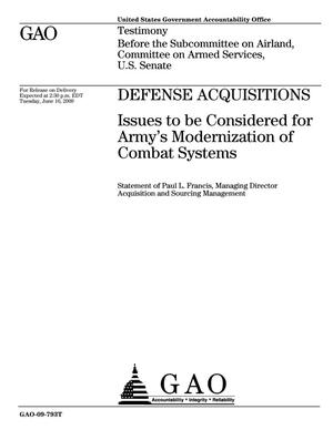 Primary view of object titled 'Defense Acquisitions: Issues to be Considered for Army's Modernization of Combat Systems'.