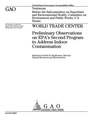 Primary view of object titled 'World Trade Center: Preliminary Observations on EPA's Second Program to Address Indoor Contamination'.
