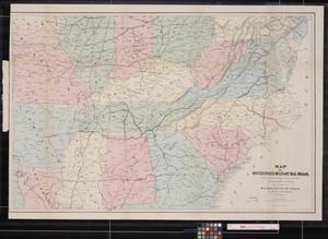 Primary view of object titled 'Map of United States Military Rail Roads : Showing the Rail Roads operated during the War from 1862-1866 as Military Lines'.