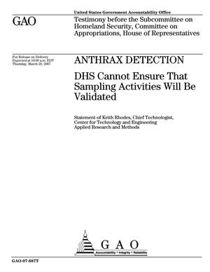 Primary view of object titled 'Anthrax Detection: DHS Cannot Ensure That Sampling Activities Will Be Validated'.