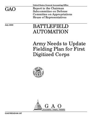 Primary view of object titled 'Battlefield Automation: Army Needs to Update Fielding Plan for First Digitized Corps'.