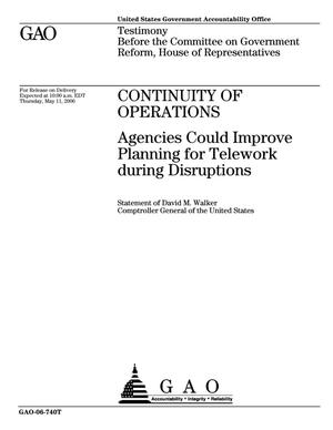 Primary view of object titled 'Continuity of Operations: Agencies Could Improve Planning for Telework during Disruptions'.
