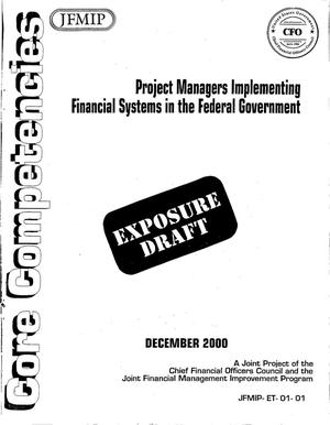 Primary view of object titled 'JFMIP: Project Managers Implementing Financial Systems in the Federal Government (Exposure Draft)'.