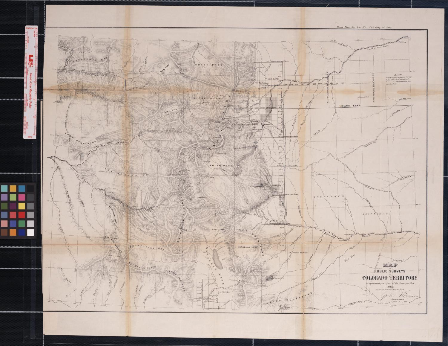 Map of Public Surveys in Colorado Territory to accompany a report of the Surveyor Gen., 1863                                                                                                      [Sequence #]: 1 of 1