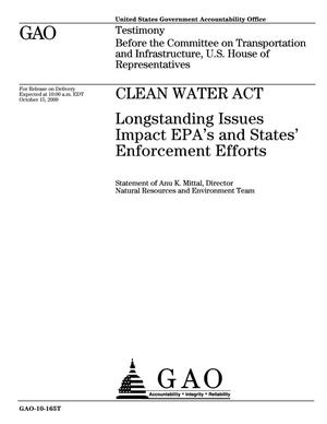 Primary view of object titled 'Clean Water Act: Longstanding Issues Impact EPA's and States' Enforcement Efforts'.