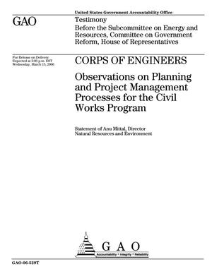 Primary view of object titled 'Corps of Engineers: Observations on Planning and Project Management Processes for the Civil Works Program'.