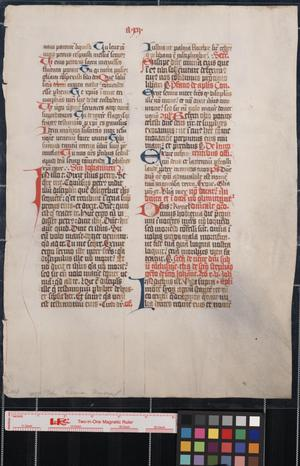 Primary view of object titled 'Manuscript leaf from a Roman missal of ca.1450.'.