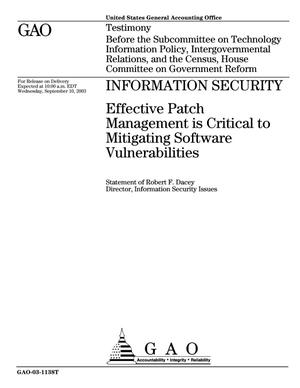 Primary view of object titled 'Information Security: Effective Patch Management is Critical to Mitigating Software Vulnerabilities'.