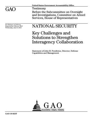Primary view of object titled 'National Security: Key Challenges and Solutions to Strengthen Interagency Collaboration'.