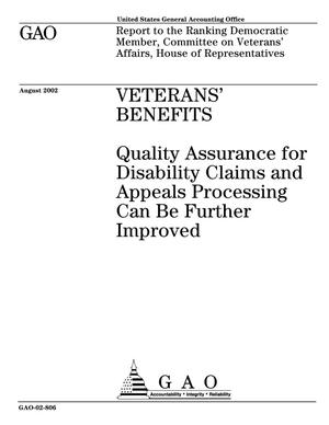Primary view of object titled 'Veterans' Benefits: Quality Assurance for Disability Claims and Appeals Processing Can Be Further Improved'.