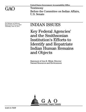 Primary view of object titled 'Indian Issues: Key Federal Agencies' and the Smithsonian Institution's Efforts to Identify and Repatriate Indian Human Remains and Objects'.