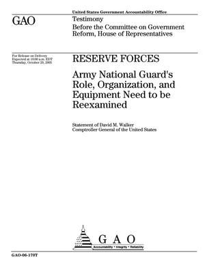 Primary view of object titled 'Reserve Forces: Army National Guard's Role, Organization, and Equipment Need to be Reexamined'.