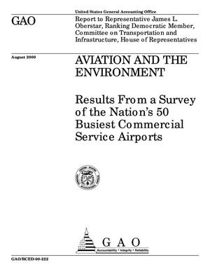 Primary view of object titled 'Aviation and the Environment: Results From a Survey of the Nation's 50 Busiest Commercial Service Airports'.