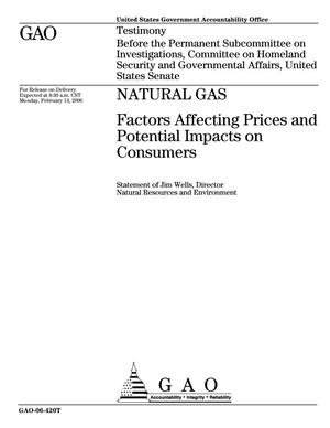 Primary view of object titled 'Natural Gas: Factors Affecting Prices and Potential Impacts on Consumers'.