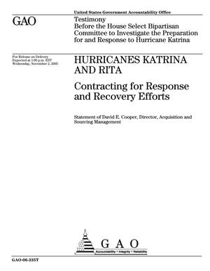 Primary view of object titled 'Hurricanes Katrina and Rita: Contracting for Response and Recovery Efforts'.