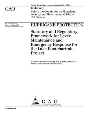 Primary view of object titled 'Hurricane Protection: Statutory and Regulatory Framework for Levee Maintenance and Emergency Response for the Lake Pontchartrain Project'.