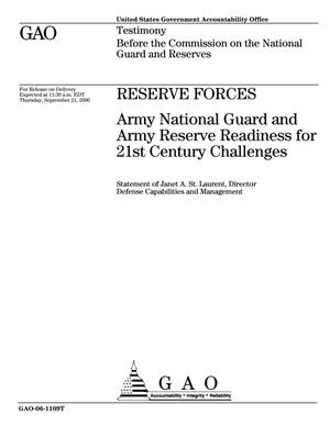Primary view of object titled 'Reserve Forces: Army National Guard and Army Reserve Readiness for 21st Century Challenges'.